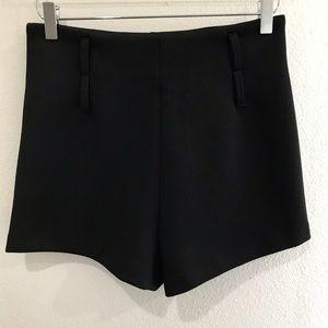 Zara Trafaluc Black High Waisted Tuxedo Shorts